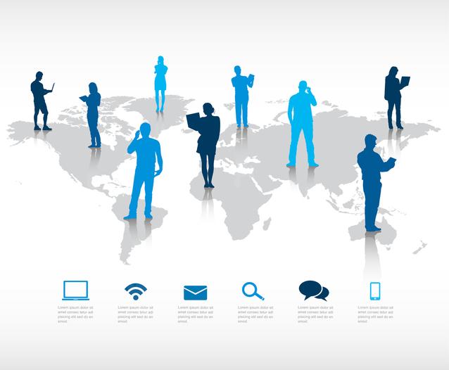lidé po celé zemi v různých barvách využívající různé technologie